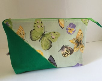 Bag Butterfly green washbag cosmetic bag beauty