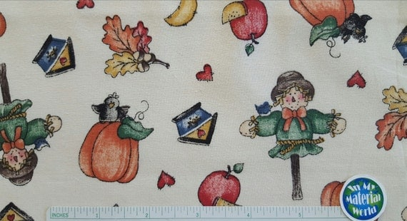 Autumn Fabric, Pumpkins and Scarecrows, 100% Cotton, Quilt ...