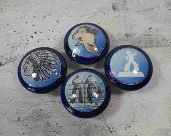 Western Cowboy Knobs Done in Navy Blue Featuring 4 Different Western Images.  Buy One, Two, or 100. Bulk Discounts Available.