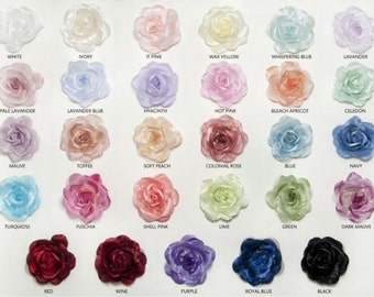 SALE - 1 DOZEN Organza Flowers, Flower Girl - Wedding - Baby Shower Flowers, Fabric Flowers, Decorations