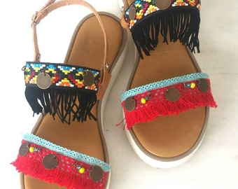 Boho sandals|Strappy sandals|Greek ancient sandals|Handmade leather sandals|Ethnic sandals|Fringe sandals|Colorful sandals|Free shipping