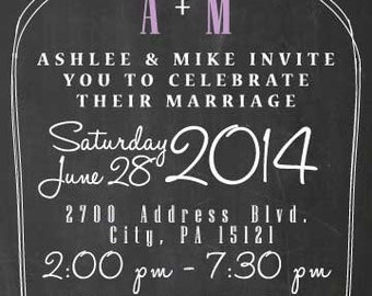 Chalk Board Wedding Invitation
