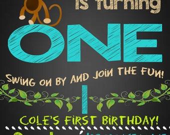 Monkey First Birthday Invite