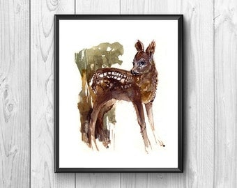 Fawn, tender and helpless, painted with watercolors