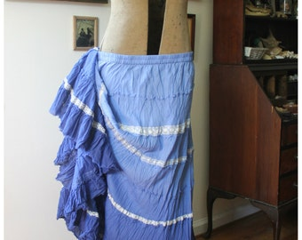 Royal Blue Ombre Skirt, Boho Hippie Ruffled Skirt, Handmade UpCycled Vintage Lace Shabby Chic, Victorian Bellydance Skirt, Mori Kei, Witchy
