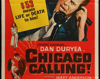 """Chicago Calling (1951) Vintage One Sheet Movie Poster - 27"""" x 41"""" - Free US Shipping"""