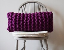 Chunky knit rectangular damson cushion - oblong knitted cushion - oblong pillow - decorative purple throw cushion - red knitted pillow