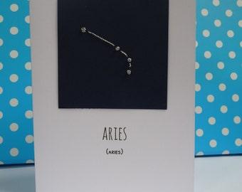 Zodiac/Constellation Blank Card (Aries) - Birthday, Thank you Note, Greeting Card