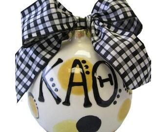 KAT  Kappa Alpha Theta Sorority Handpainted Ceramic Christmas Ornament.