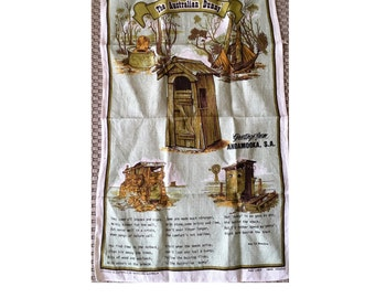 "Vintage 1980s ""The Australian Dunny"" Tea Towel / Souvenir Tea Towel / Linen Tea Towel / Dunny Poem / Australiana"