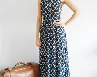 Vintage 70s Art Deco Navy Maxi Dress - UK 8/10