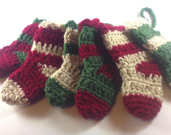 Set of 6 Mini Christmas Stockings / 6 inches ornaments