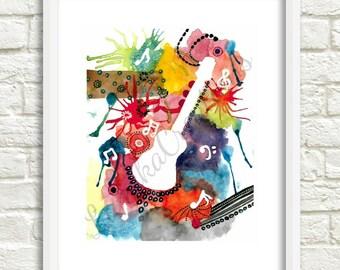 PRINTABLE, Guitar Watercolor Painting, Art, Splatter watercolor, Watercolor, Wall Art, Wall decor, Painting, INSTANT DOWNLOAD, Digital file