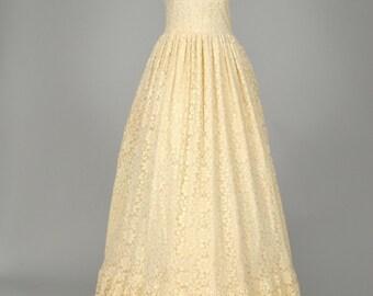 1970 Peasant Lace Vintage Wedding Gown