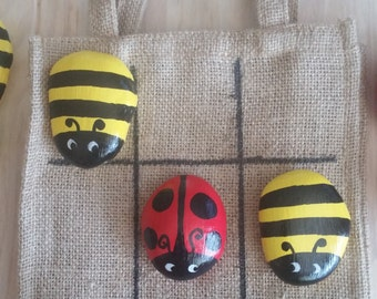 Painted Rocks / Tic Tac Toe / Ladybug / Bumble Bee / Travel Game