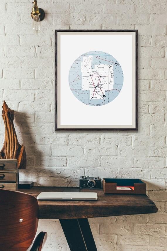 Arte de archivo imprimible de la constelación de Orion mapa