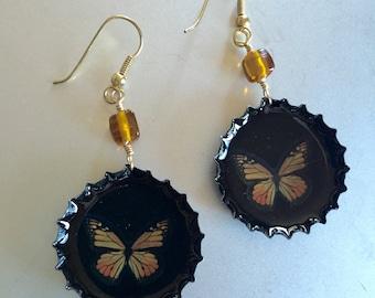 Black Monarch Butterfly Earrings