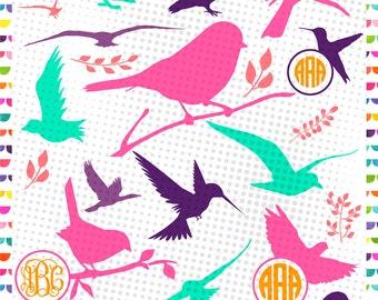 Bird Monogram Frame – bird silhouette - cut Files SVG DXF EPS - Cutting or Printing - Instant Download - svg Bundle - dxf Bundle