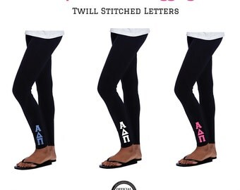 Alpha Delta Pi Leggings . 2 Inch Custom Stitched Twill Letters