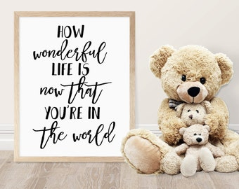 Nursery Printable - How Wonderful Life Is Now That You're In The World - Kids Room Decor - Nursery Decor  - Baby Shower Gift  - Ru