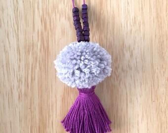 Purple & Grey Pompom Tassel Necklace