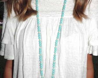 Double Wrap Turquoise with Silver Cross Pendant