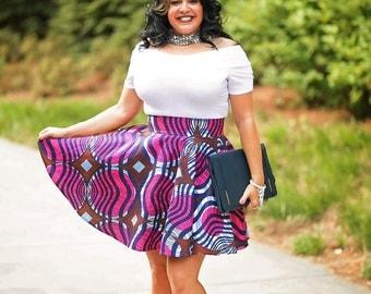 African Wax Print High Waisted Mini Circle Skirt