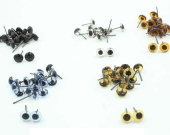 100pcs 3-14mm Glass Eyes On Wire Toy Teddy Eyes Puppets Doll