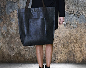 Mr M Vintage Bag - Black Leather Tote Bag - Large Black Tote - Black Leather Travel Bag - Leather Market Bag - Large Shopper Bag