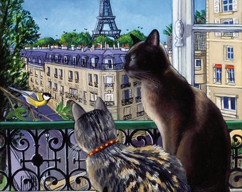 Two cats, view of the Eiffel Tower