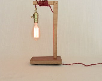Lamp, Modern Wood Table/Desk/Bedside/Accent Lamp, Red/Brass