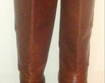 Vintage 70's riding boot with snakeskin inlay