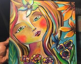 """Acrylic Painting """"Sweet Girl"""""""