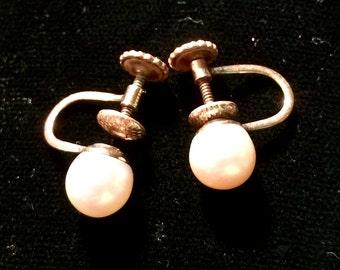 Vintage Richelieu Pearl Gold Fill Screwback Earrings
