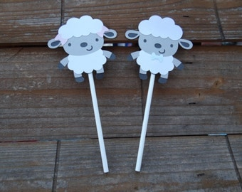 Lamb Baby Shower Cupcake Toppers