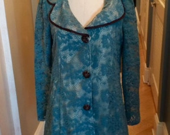 vintage cotton lace overlay coat jacket lovely detailing