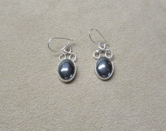 Unique HEMETITE STERLING silver drop earrings.