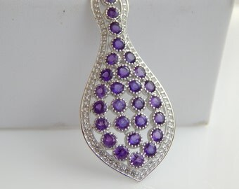 Natural Gemstone Purple Amethyst Pendant, 925 Sterling Silver Pendant Necklace, Big Statement Necklace Jewelry, Amethyst Pendant, Gemstone