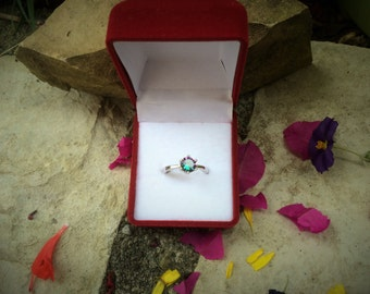 SALES -25%!!! solitaire engagement ring plated silver with rainbow stone mystic topaz eangagement ring , cubic zirconia ring size 5,6,7,8