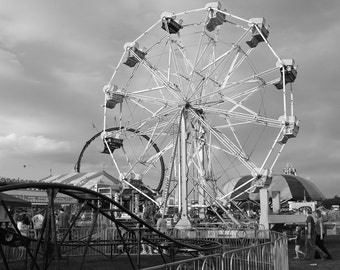 Ferris Wheel, Carnival Fun, Carnival Photography, Black and White Photography, Wall Art, Wall Decor, Carnival Ride