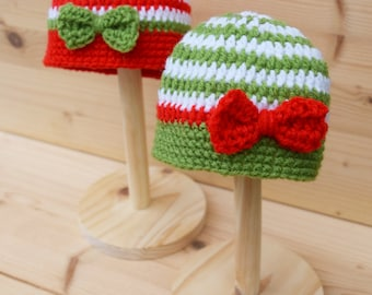 Christmas baby twin hat, Baby beanie hats for twins, Newborn Hat, Baby hat with bow, Knit baby hat, Photo prop, Christmas