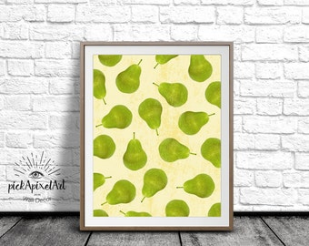 Kitchen print, Pears Wall Art, Pears Art Print, Fruit Print, Printable Wall Decor, Digital Art Print, fruit Poster, Pears Poster