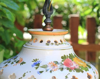 Beautiful old light ceiling lamp ceramic with spirals of flowers