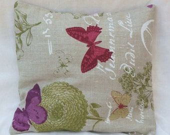 Pillow violet butterflies in beige linen cover