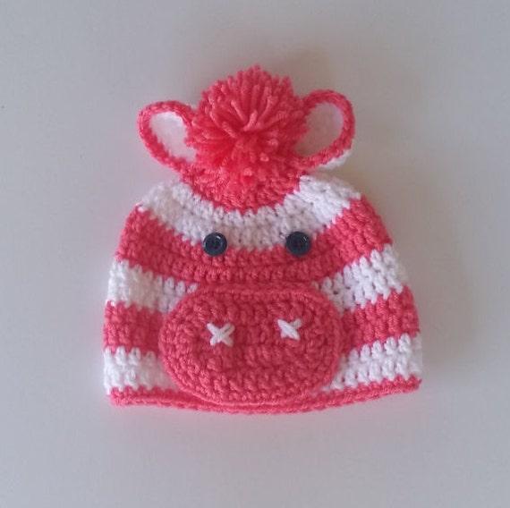 Crochet Pattern Zebra Hat : Pink Zebra Crochet Hat Baby Zebra Hat Toddler Zebra Hat