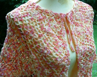 Crochet Cape, orange-white-yellow, size 36-36 (S M),
