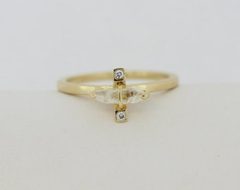 0.67 Carats Transparent Rough Diamond Engagement Ring Set in 14KT Yellow Gold