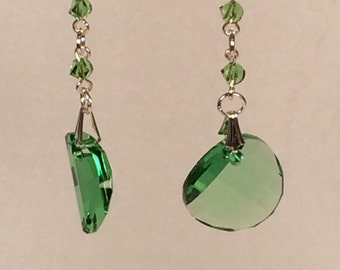 Swarovski Twisted Earrings in Peridot Green