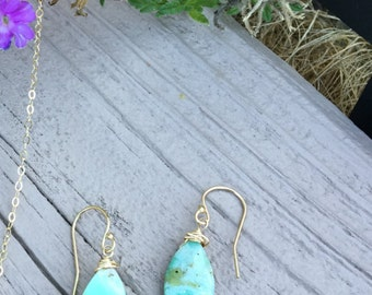 Chrysoprase rustic wrap gold filled earring