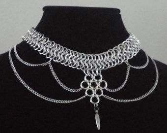 Chainmail Choker -European 6 in 1 Weave- and - Japanese 6 in 1 Weave- with Chain and Spike Charm